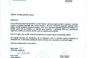 Neizgradnja pločnika Lopata-obvestilo MOC